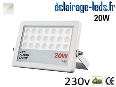 Projecteur LED extérieur plat 20W IP65 blanc naturel 230v