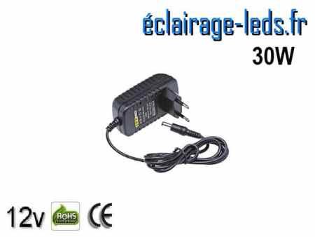Transformateur LED 12V DC sur prise 30W