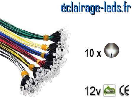 Lot de 10 LEDS blanches câblées 12v DC