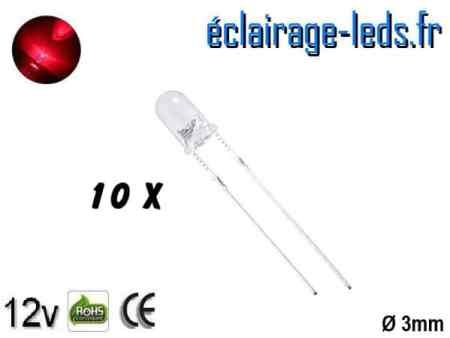Lot de 10 LEDs rouges 1000 mcd 670 nm 30°