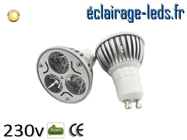 Ampoule led GU10 3w High Power blanc chaud 3000K 230v AC ref A118-1