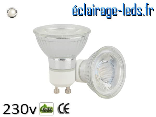 Ampoule led GU10 5w COB blanc naturel 4200K 230v AC ref A110-2