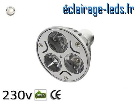 Ampoule led MR16 3*1w High Power blanc naturel 4200K 12v DC ref A118-4