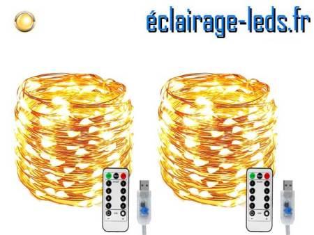 2 Guirlandes LED usb 10m Blanc chaud telecommande