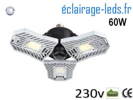Ampoule led E27 plafonnier 60w SMD blanc 6000K 230v AC