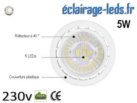 Ampoule led GU10 5W Blanc Naturel 4000K Équiv 45W