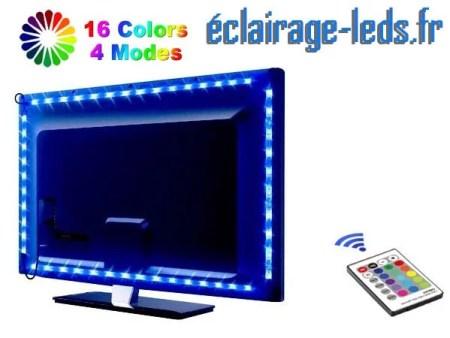 Bandeau LED RGB 2x50cm + 2x60 cm Rétroéclairage TV piloté IR.