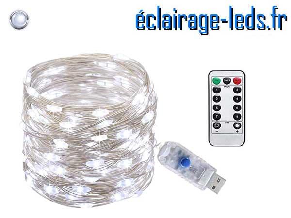 Guirlande LED usb 10m Blanc telecommande