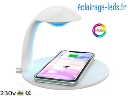 Veilleuse LED Tactile Luminosité Réglable Chargeur Induction Qi