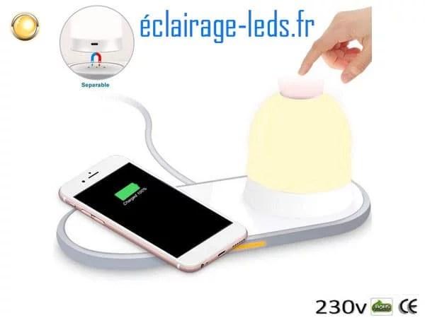 Veilleuse rechargeable sans fil avec Chargeur Induction