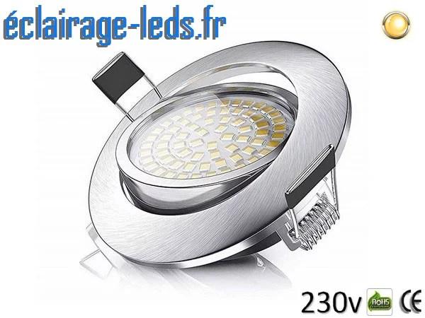 spot led encastrable orientable 5w ultraslim blanc chaud 550lm 230v ip44 ref sl 01