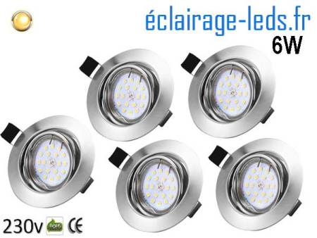 Kit 5 Spots LED GU10 Blanc chaud encastrable chrome