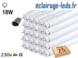 25 tubes LED T8 18w blanc froid 1800 Lm 230v AC