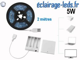 Bandeau LED 2M blanc froid IP65 USB avec alimentation batterie