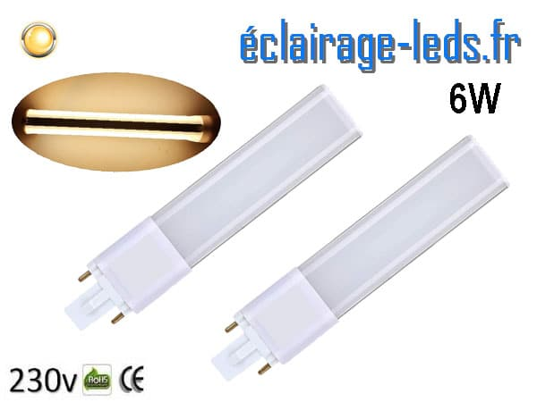 2 ampoules LED G23 6W blanc chaud IP20 230v