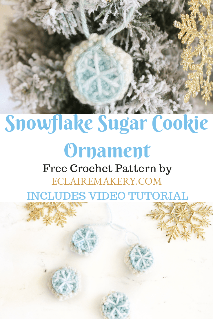 Snowflake Sugar Cookie Ornament Free Crochet Pattern by ECLAIREMAKERY.com