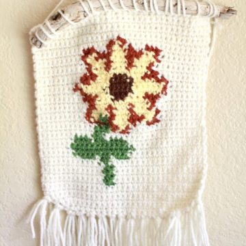 Sunflower Crochet Wall Hanging: Free Crochet Pattern by ECLAIREMAKERY.COM