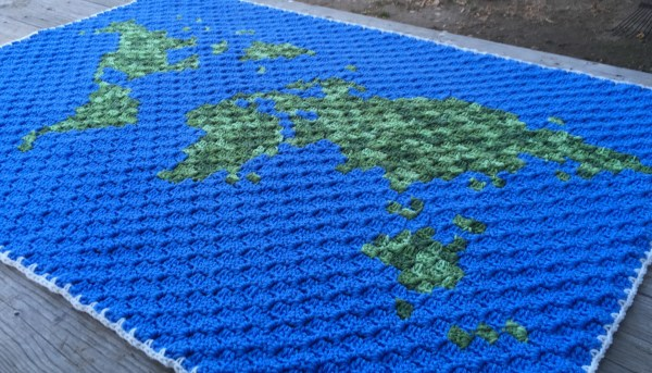 World Map Corner to Corner Crochet Blanket Free Crochet Pattern by E'Claire Makery Guest Blogger Coffee and Crochet Goals
