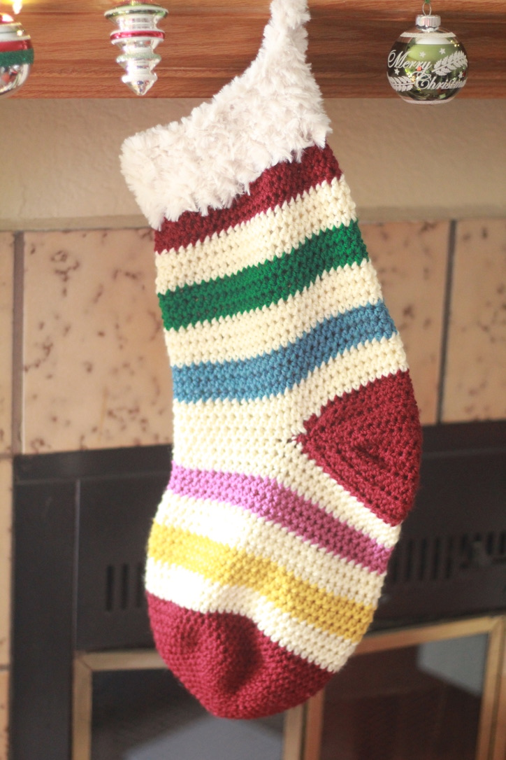 Merry and Bright Classic Striped Crochet Christmas Stocking: Free Crochet Pattern