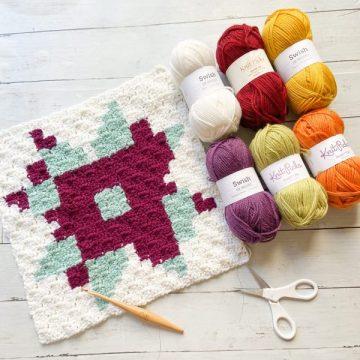 Starburst C2C Quilt Block: Free Crochet Blanket Square Pattern
