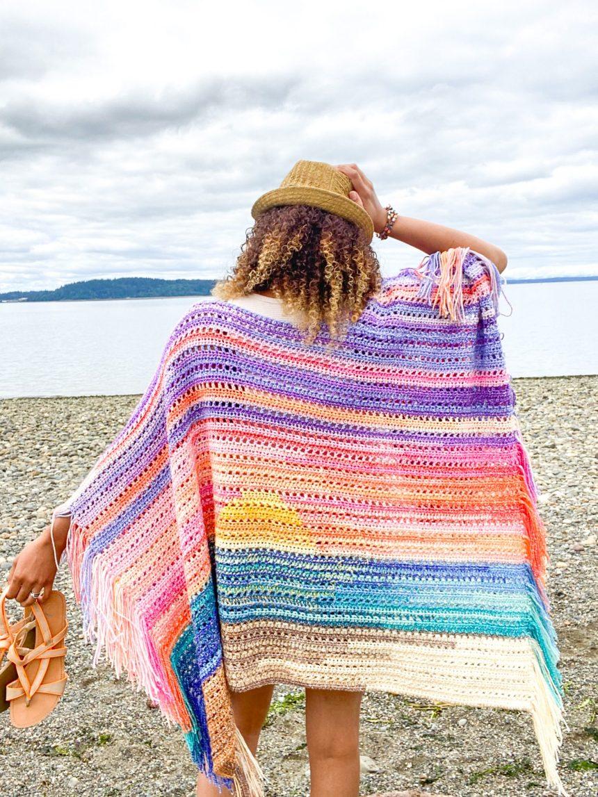 Sunset Ruana: Free Tapestry Crochet Pattern