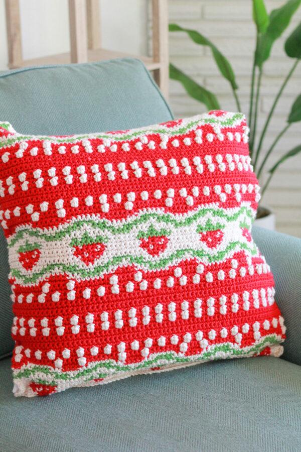 Strawberry Fields Pillow: Free Tapestry Crochet Pillow Pattern