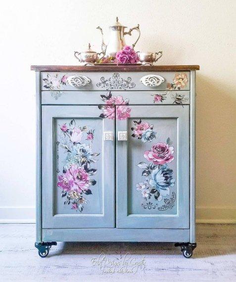 floral-kitchen-cart-island-beverage-station-eclatdeignsbycrystin