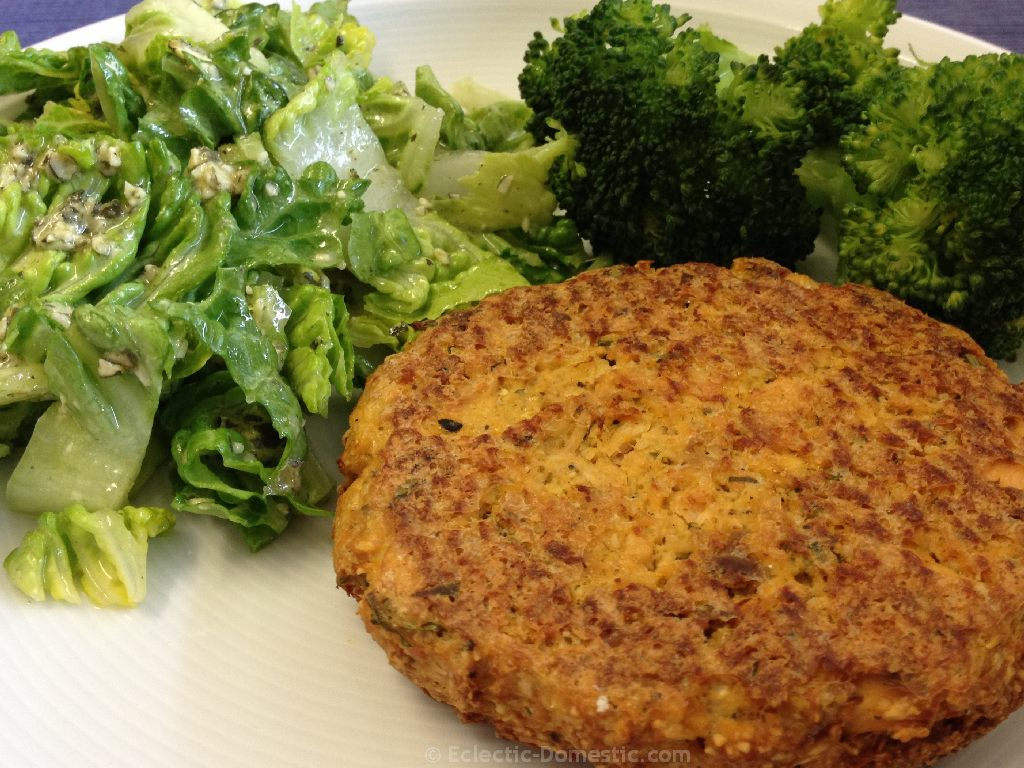 Salmon burgers (pictured here with Dr. Gundry's Seed-Sar Salad and steamed broccoli)