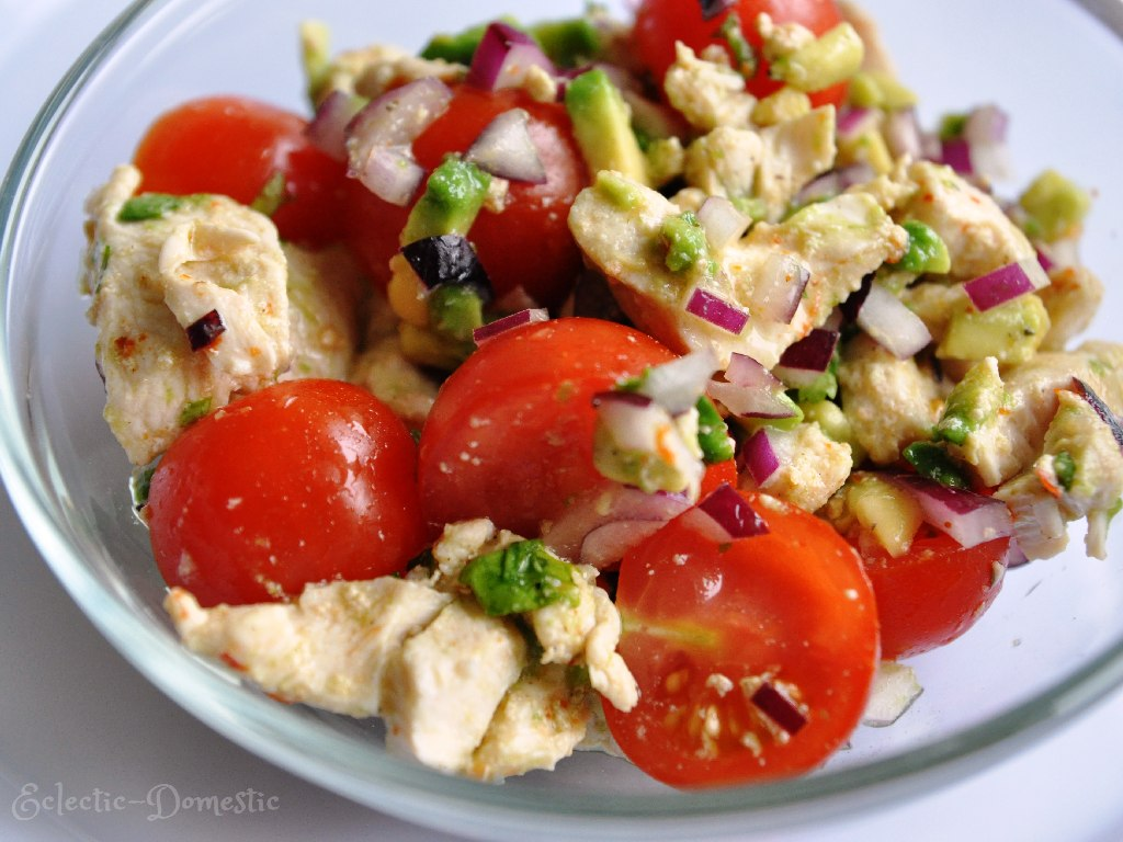 Chicken, tomato, and avocado salad