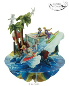 Santoro London - Beach and Surfing - 3D Pop-up Pirouette Card