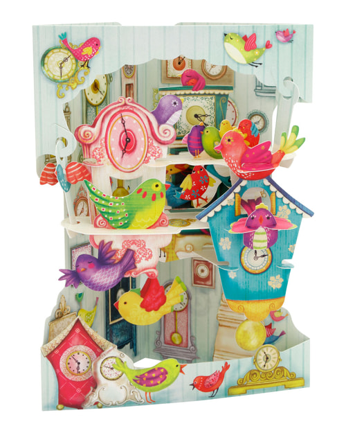 Santoro Birds and Clocks – 3D Pop-Up Swing Card