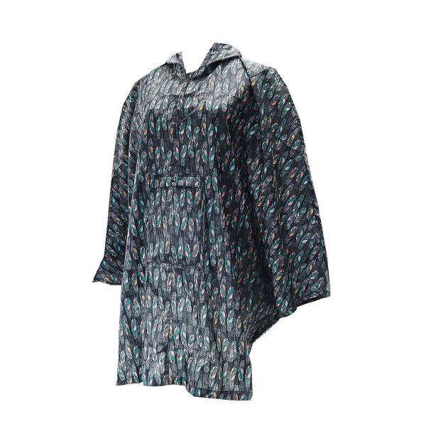Black Feather Adult Foldable Poncho