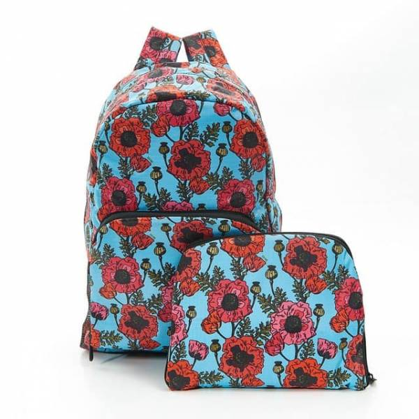 Blue Poppies Foldable Backpack