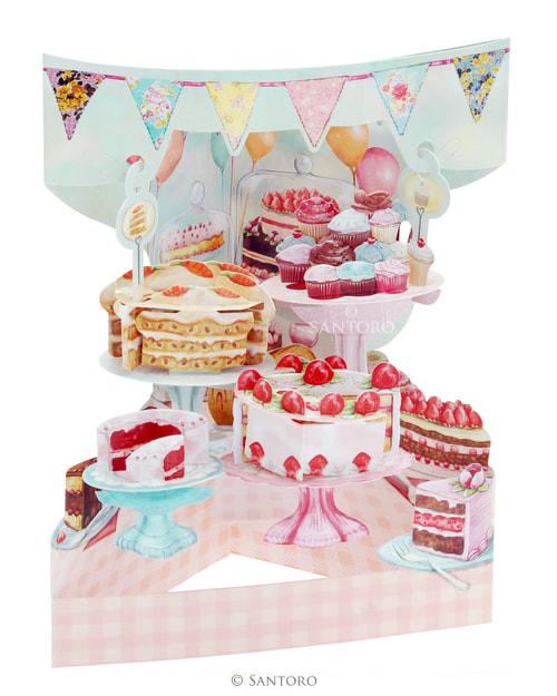 Santoro Home Baked Cakes – 3D Pop-Up Swing Card