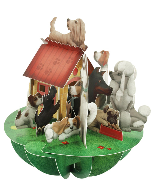 Santoro London – Dogs and Kennel – 3D Pop-up Pirouette Card