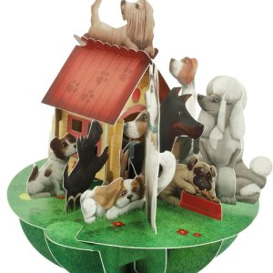 Santoro London - Dogs and Kennel - 3D Pop-up Pirouette Card