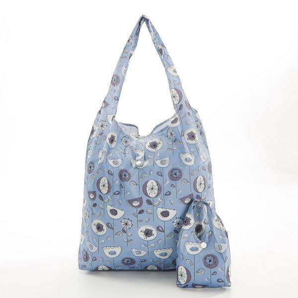 Grey 1950's flower Foldaway Shopper