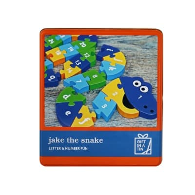 Gift in a Tin – Jake the Snake – Letter & Number Fun – Large Tin