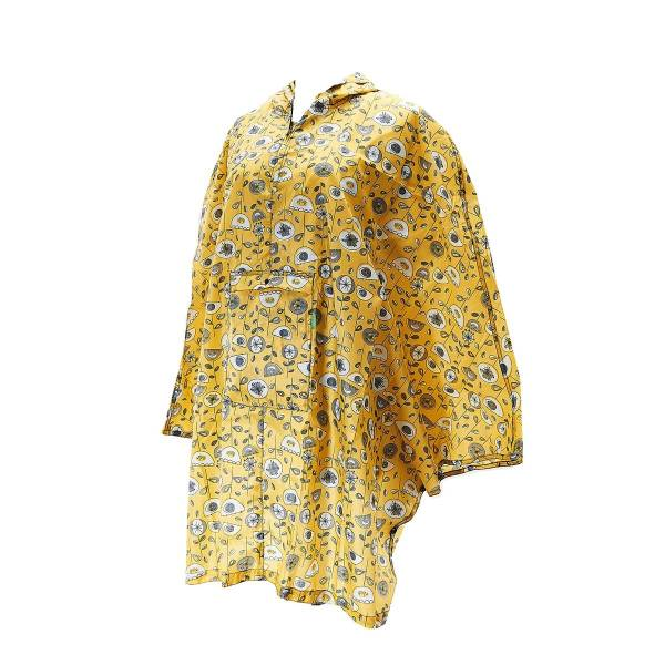Mustard 1950's Flower Adult Foldable Poncho