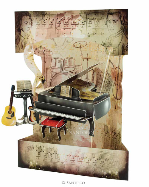 Santoro Piano and Music – 3D Pop-Up Swing Card