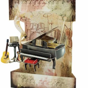 Santoro London Piano and Music - 3D Pop-Up Swing Card