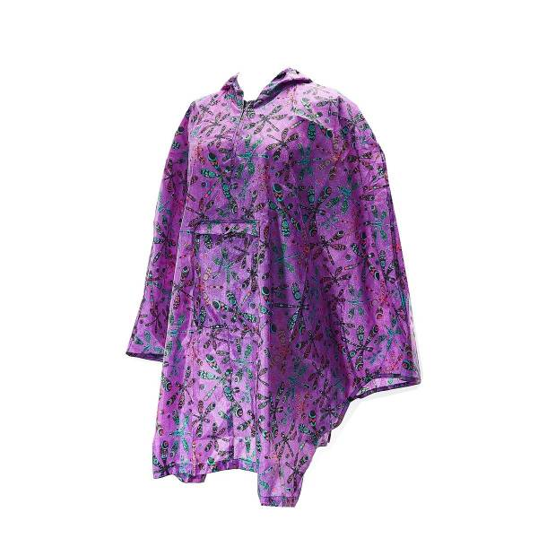 Purple Dragonfly Adult Foldable Poncho