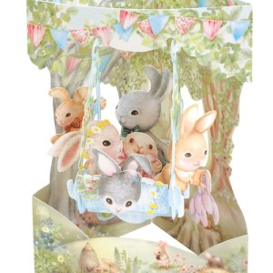 Rabbits on a Swing Boat Santoro London 3D Card