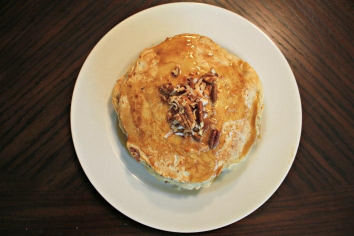 Coconut Pecan Pancakes with Caramel Sauce
