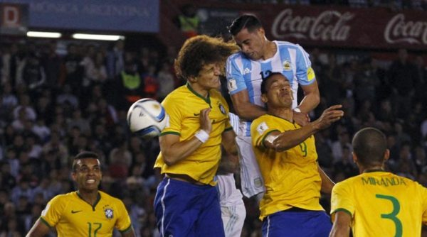 A fun looking football match between rivals Brazil and Argentina in 2015
