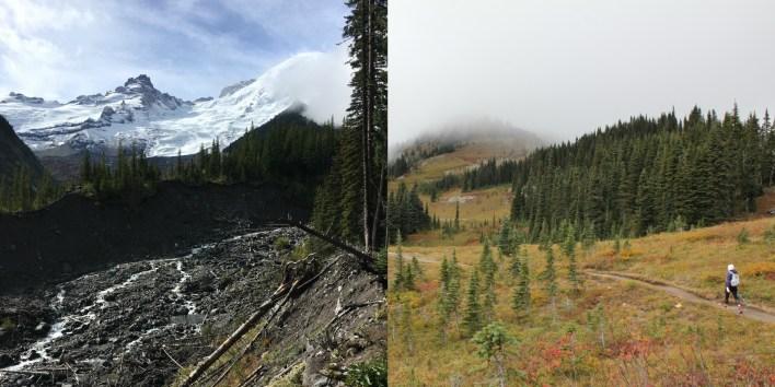 Left: Glacier Basin Trail Right: Naches Peak Loop
