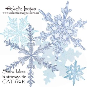 Snowflakes in a storage tin