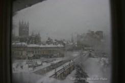 Bath Abbey covered in snow bath england
