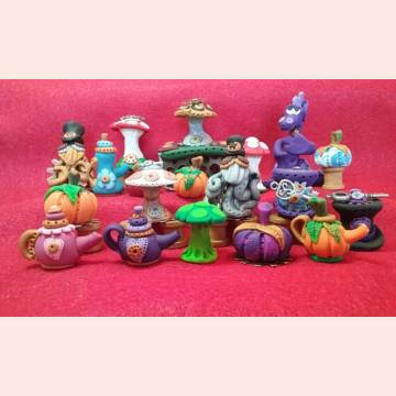 Polymer Clay dragons, teapots, muschrooms, steampunk skunks by Healing Fairies