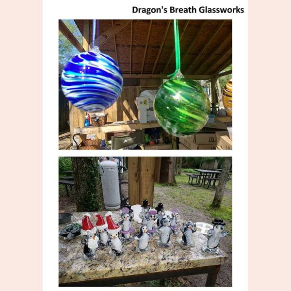 Witch balls and fanciful figures by Dragon's Breath Glassworks